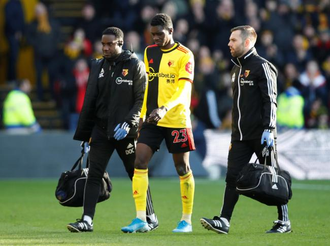 Ismaila Sarr limps out of the draw with Spurs. Picture: Action Images