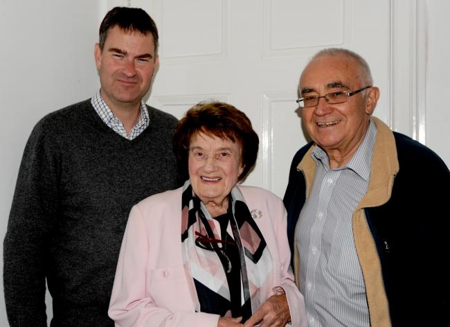 Barbara Owen (centre) with David Gauke (left) and Les Mead (right)