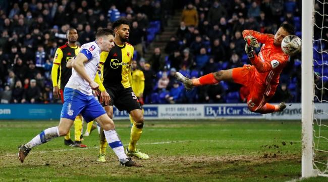 Paul Mullin heads home the winner as Tranmere knock Watford out the FA Cup. Picture: Action Images