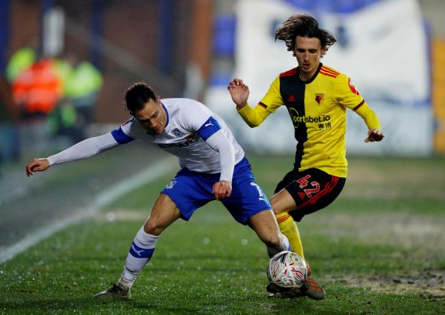 Callum Whelan during his Watford debut against Tranmere Rovers. Picture: Action Images