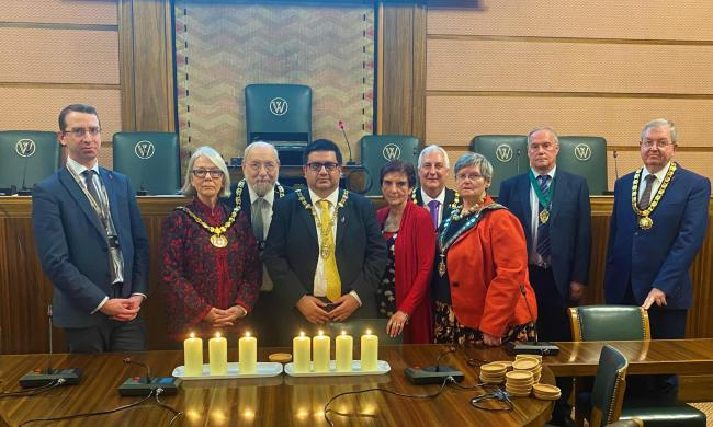 Dame Helen Hyde (in red on the right) with chairman Cllr Asif Khan, centre, mayor of Watford Peter Taylor, left, Colette Wyatt-Lowe, chairman at Hertfordshire County Council, next, and mayor of Hertsmere Cllr Alan Plancey, next
