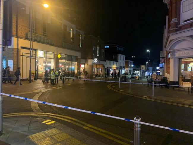 A police cordon in Watford High Street on Friday