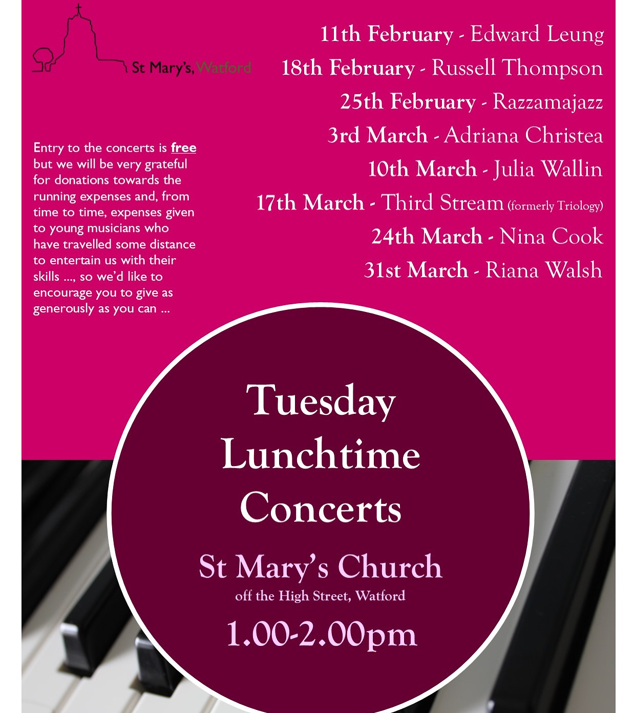 Tuesday Lunchtime Concerts at St Marys