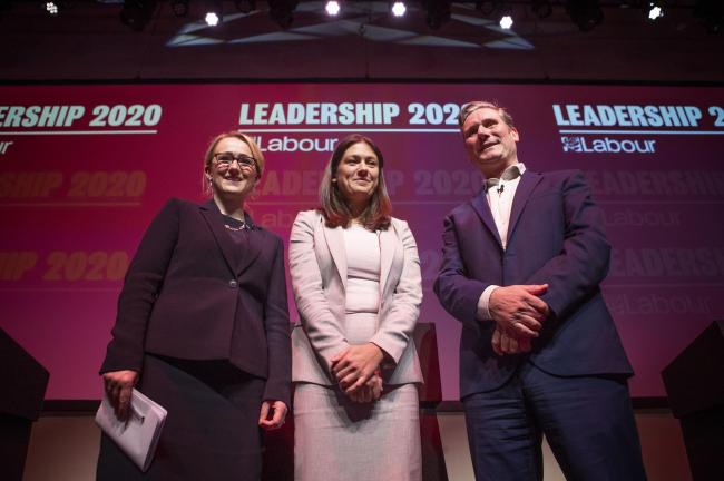 (left to right) Labour leadership candidates Rebecca Long-Bailey, Lisa Nandy and Sir Keir Starmer after the Labour leadership hustings at the SEC centre, Glasgow. Photo credit: Jane Barlow/PA Wire