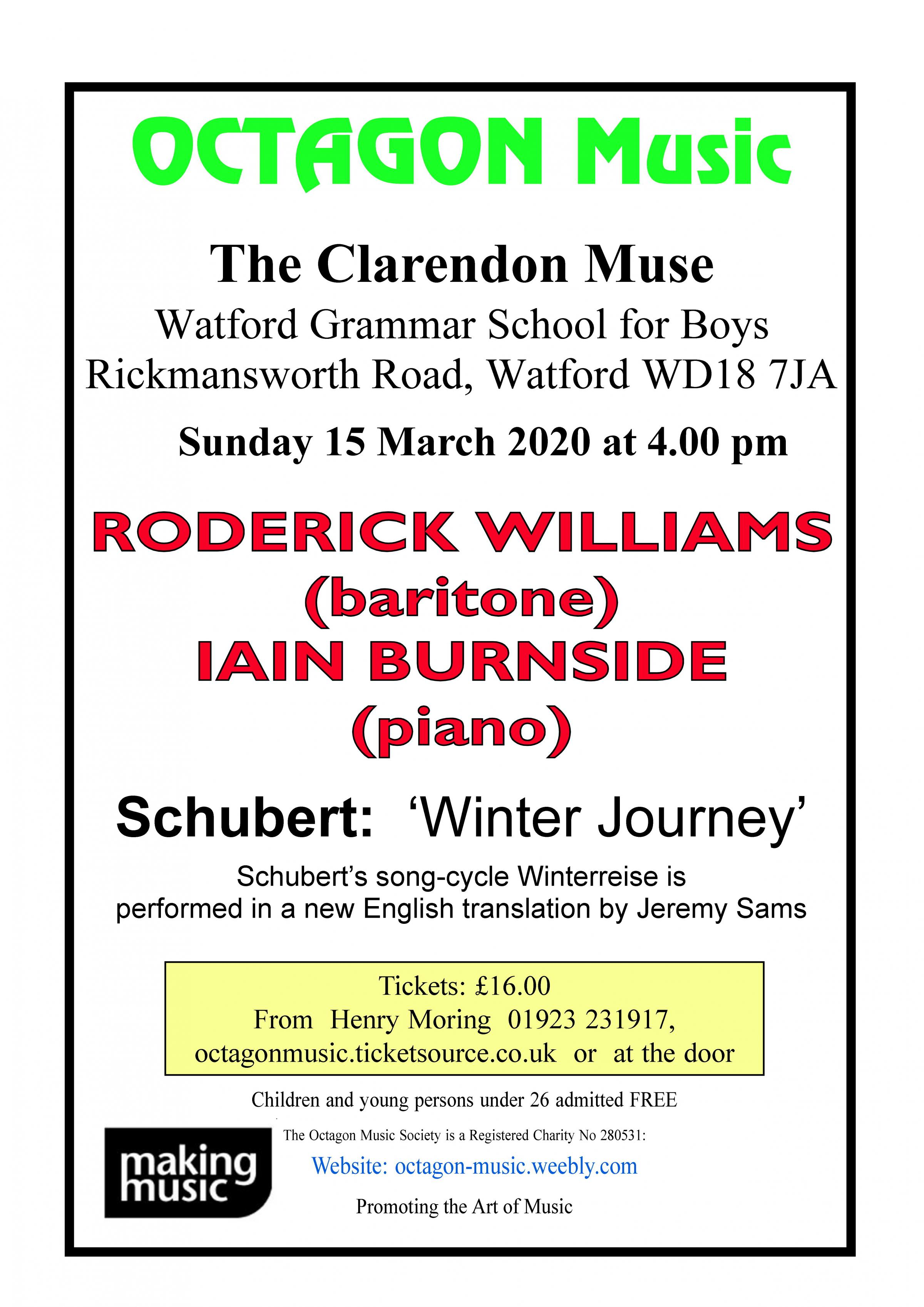Octagon Music Society - Roderick Williams (baritone) and Iain Burnside (piano)