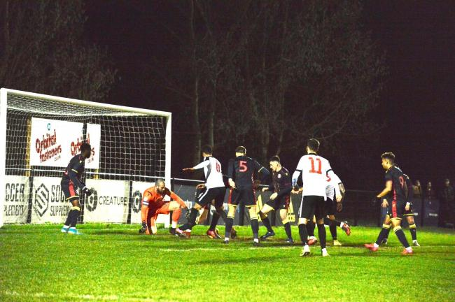 Kings Langley pictured in action in last week's Herts Senior Cup tie against Stevenage. Picture: Len Kerswill