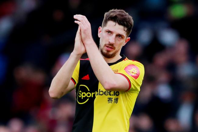 Craig Cathcart applauds the Watford fans after defeat at Selhurst Park. Picture: Action Images