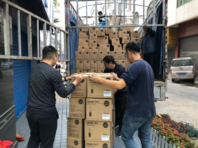 A delivery of hand wipes is received in China