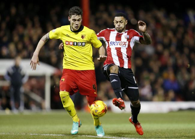 Gabriele Angella tussles with now Watford striker Andre Gray. Picture: Action Images
