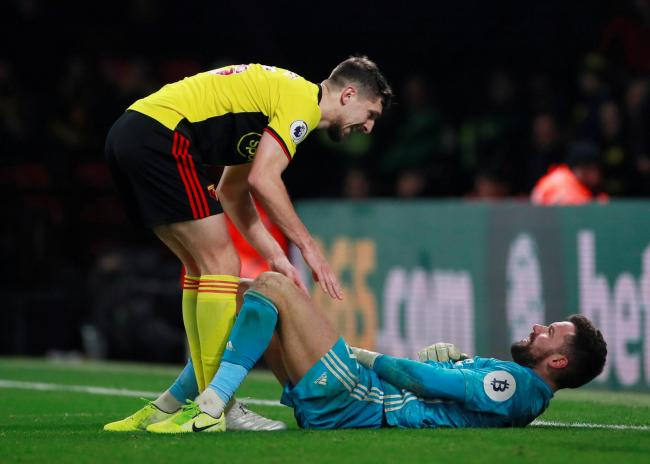 Craig Cathcart with goalkeeper Ben Foster. Picture: Action Images