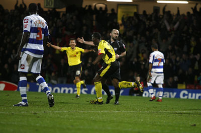 Lloyd Doyley scores first professional goal in 3-1 win over QPR. Picture: Holly Cant