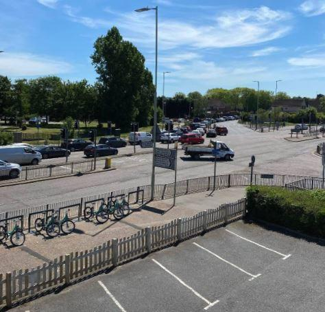 Cars queuing at around 1pm in St Albans Road towards Garston McDonald's. A view from the Harvester car park. It never normally queues here particularly during lockdown. Credit: Artan Selimi