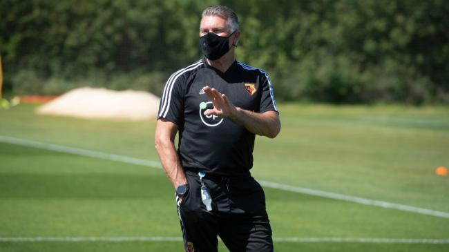 Nigel Pearson back at training with Watford for the first time since the outbreak of Covid-19. Picture: Watford FC