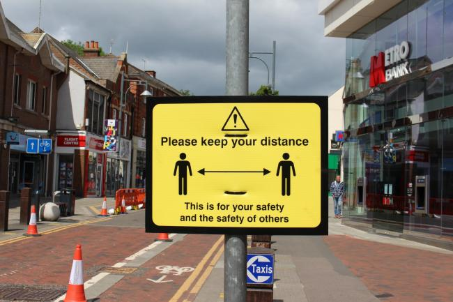 Social distancing signs have been put up in Watford