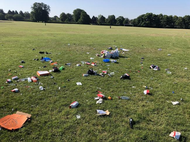 Litter left in Cassiobury Park over the weekend.