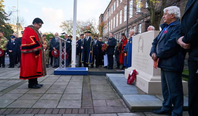 Cllr Asif Khan at the Remembrance event in November in Watford