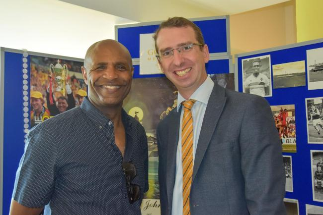 Luther Blissett and Watford Mayor Peter Taylor prior to lockdown