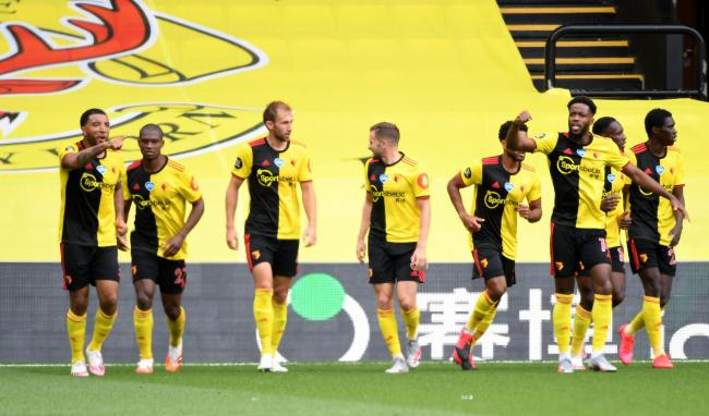 Watford celebrate Craig Dawson's late equaliser. Picture: Action Images