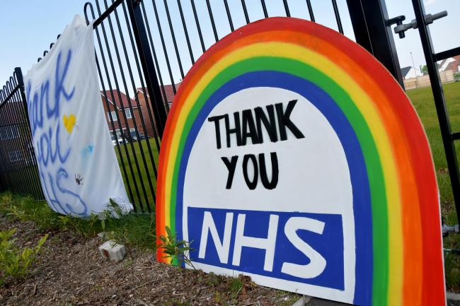 Basingstoke Hospital 'Thank you NHS' posters. Photo: Sean Dillow/Sean@thepressphotographer.co.uk