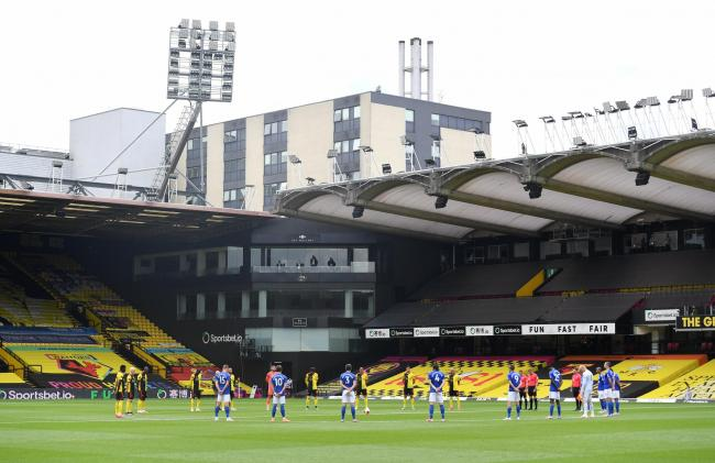 Watford and Leicester players share a moment of silence to honour those affected by the coronavirus pandemic. PIcture: Action Images