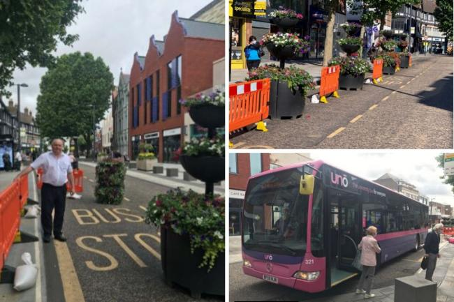 Floral displays have been put into bus stop in the town centre