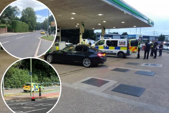 Police made an arrest last night at the BP petrol station in Wiggenhall Road, Watford. Credit: BCH Road Policing Unit