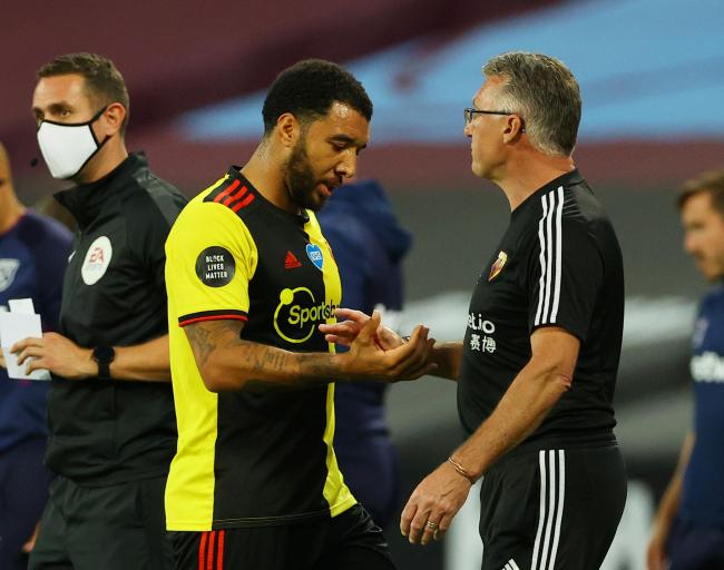 Troy Deeney with sacked boss Nigel Pearson. Picture: Action Images
