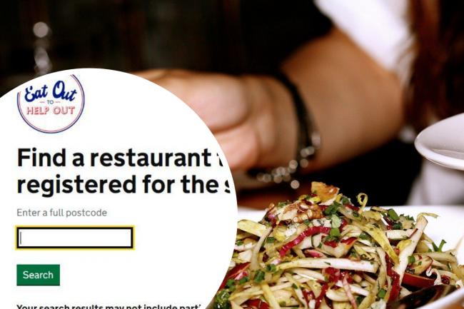 Postcode checker shows you restaurants taking part in Eat Out to Help Out scheme