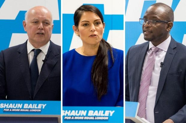 Watford Observer: Iain Duncan Smith (left), Priti Patel (centre) and Duwayne Brooks were at the CSJ event to support Mr Bailey (Photos: Shaun Bailey / Twitter)