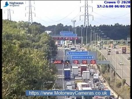 Queues northbound approaching the crash scene. Credit: Highways England