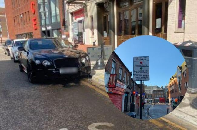 A Bentley driver struck the bollards in Watford town centre