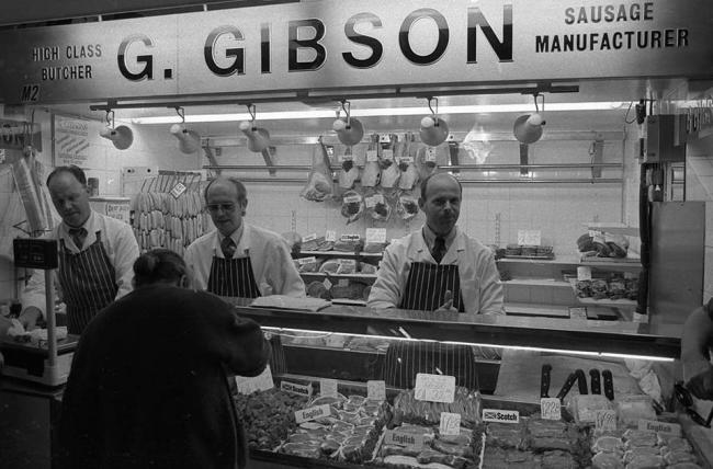 Gibson's butchers in Watford Market