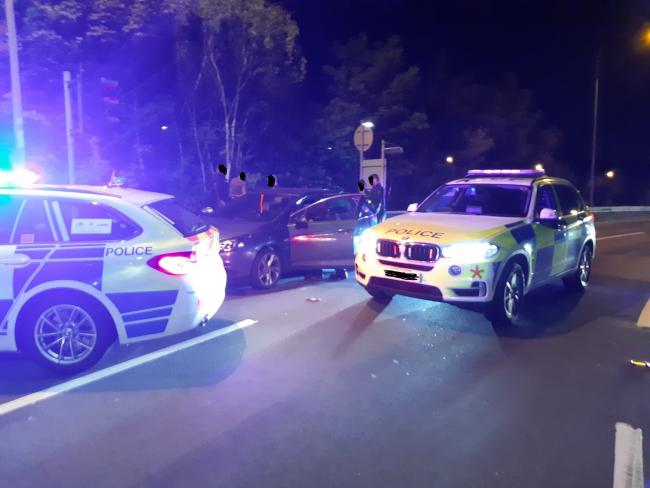 Police stopped a car on Monday evening (photo BCH Road Policing)