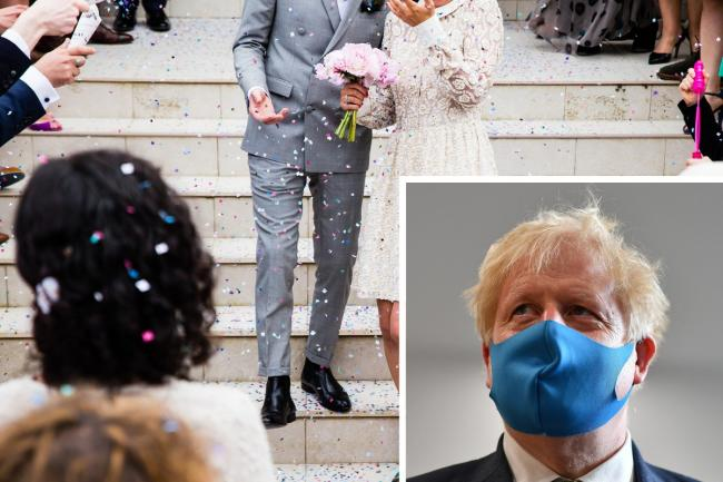Boris Johnson has stood firm on the wedding number limit. Photos: Pixabay, PA