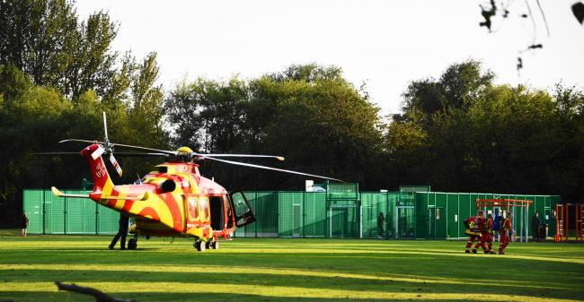 An Air Ambulance was called to Radlett Road Playing Fields. Photo: Rory Robinson
