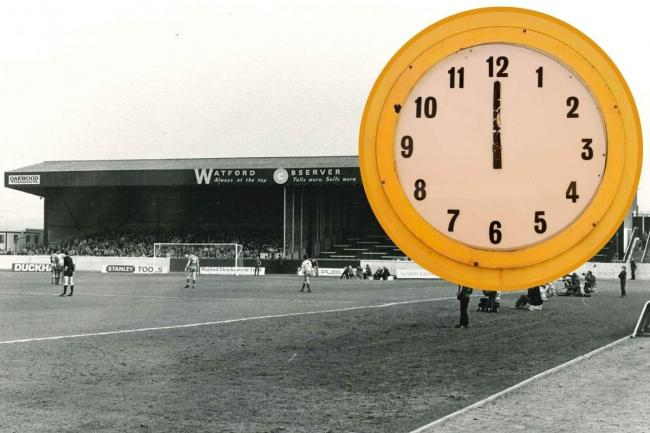 The Watford Observer Clock at Vicarage Road and (inset) now on display at Watford Museum. Photos: Watford Museum