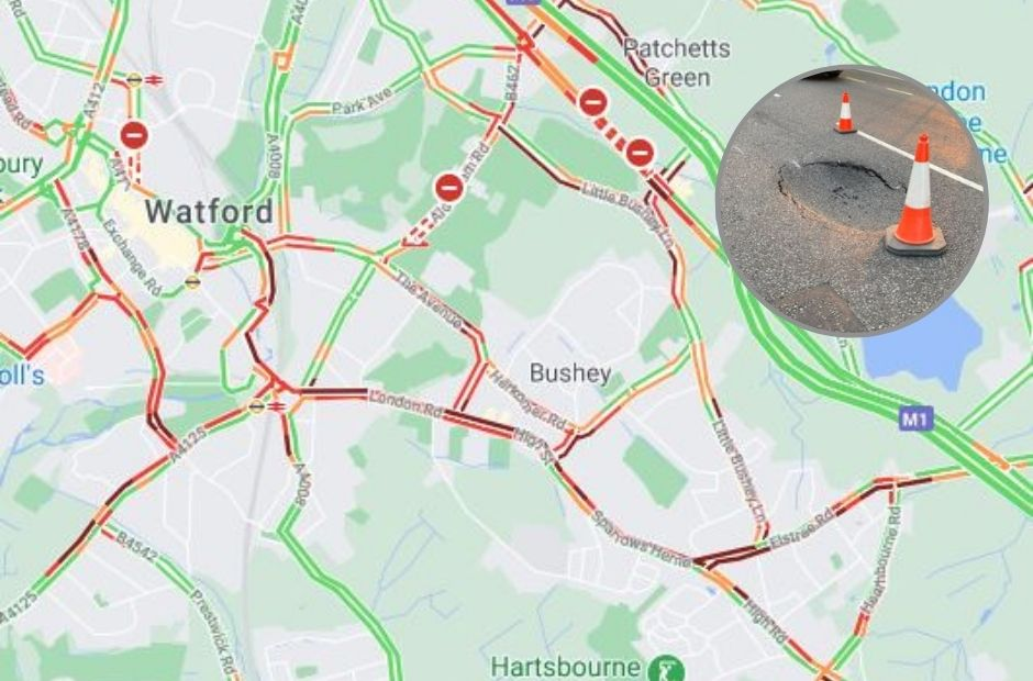 Major traffic in Bushey due to A41 closure and 'sinkhole'