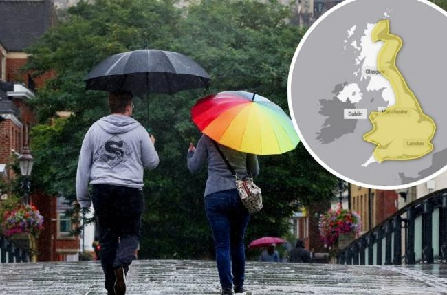A yellow warning has been issued for most of England and parts of Scotland over the weekend. Credit: Met Office / PA Wire