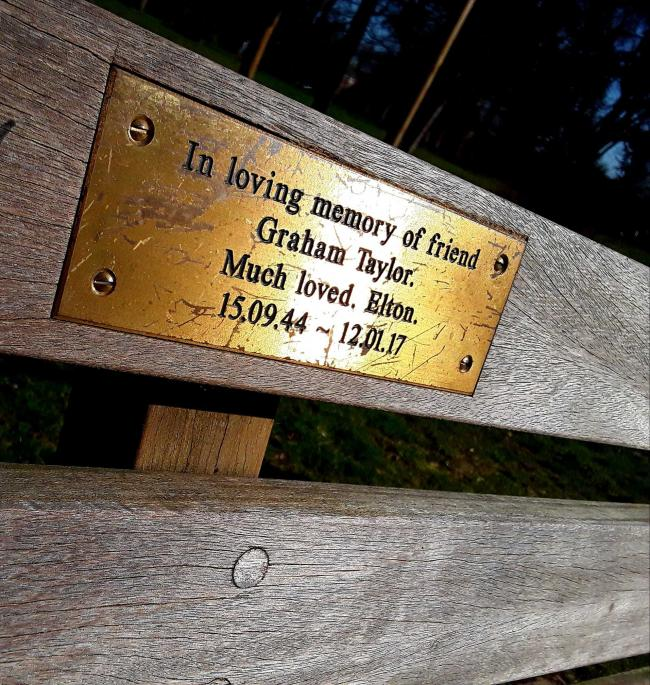 Elton John's bench in memory of Graham Taylor in Cassiobury Park. Photo: Sarah Clarke