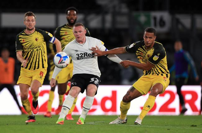 Wayne Rooney in action for Derby against Watford on Friday night. Credit: PA