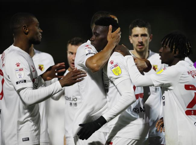 Watford celebrate their opening goal. Picture: Action Images