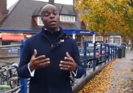 Shaun Bailey outside Watford Met station. Credit: Shaun Bailey Twitter