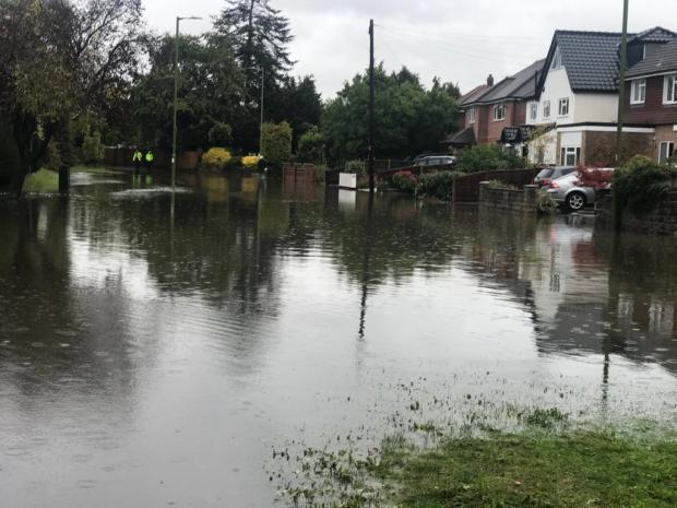 Flooding in the Harefield Road area after Storm Alex (photo Victoria Pearson)