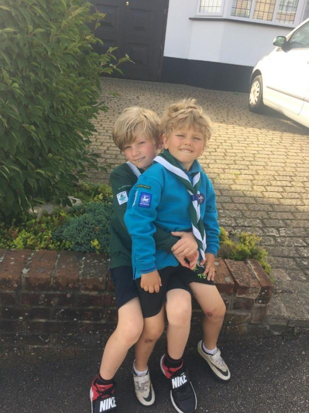 Watford Observer: Rhys pictured with his brother Sam, who was part of the Beavers in Rickmansworth and Chorleywood district