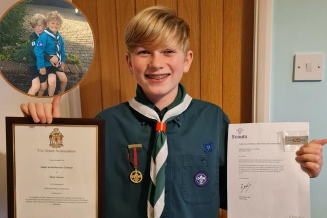 Rhys Hanson is pictured with his certificate and medal from the Rickmansworth and Chorleywood Scouts. He is pictured top left with his brother Sam who was part of the Beavers