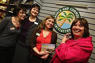 Mayor Dorothy Thornhill was on hand to open Christian bookshop Living Oasis pictured with staff Jill Willimott, Wendy Weaver and Jane Collier