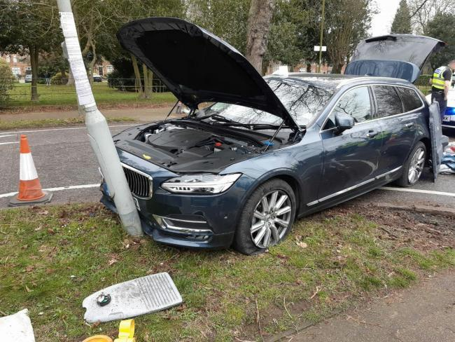 A picture of the Volvo after it crashed into a lamppost in Bushey. Credit: BCH Armed Policing Unit