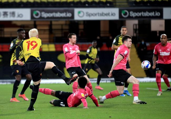 Will Hughes scores Watford's second goal. Picture: PA