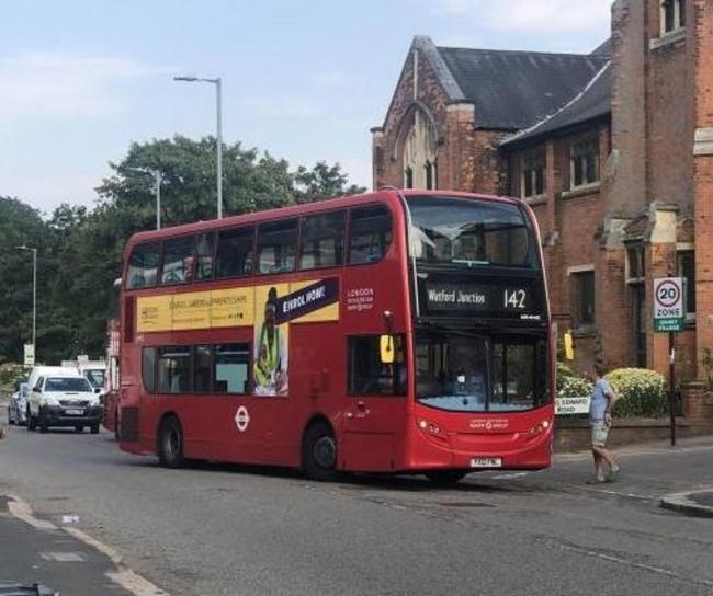 A 142 bus pictured which operates between Brent Cross and Watford Junction. This image was taken in Oxhey in August when a driver took a wrong turn.
