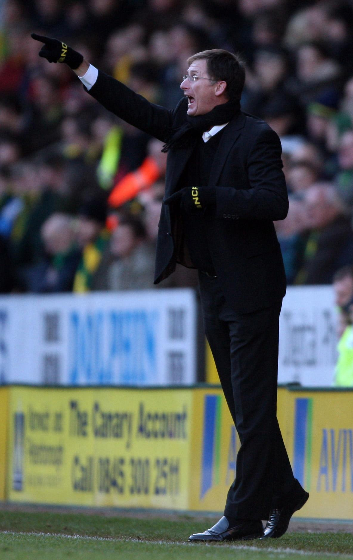 Glenn Roeder during his time at the Norwich City helm. Photo: PA